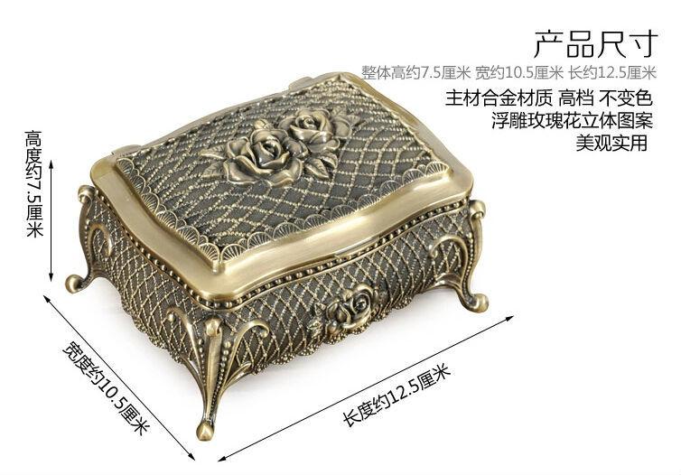 Европейский стиль, креативная коробка из розового сплава, коробка для украшений, винтажная Металлическая Витрина для украшений, Подарочная коробка Z012