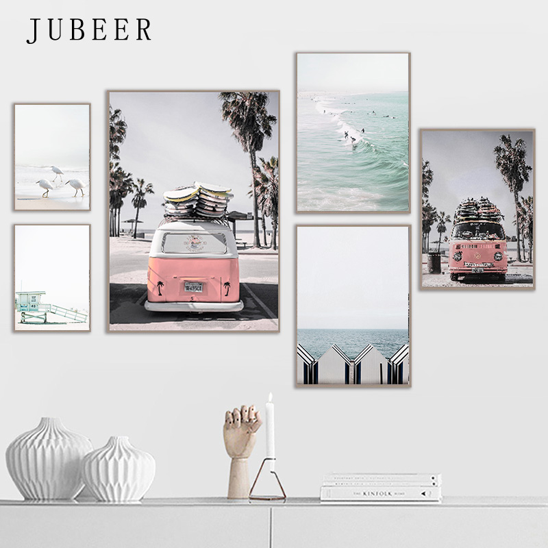 Beach Seaside Scenery Posters And Prints Travel Bus Wall Art Decorative Pictures For Living Room Nordic Home Decor Canvas Prints