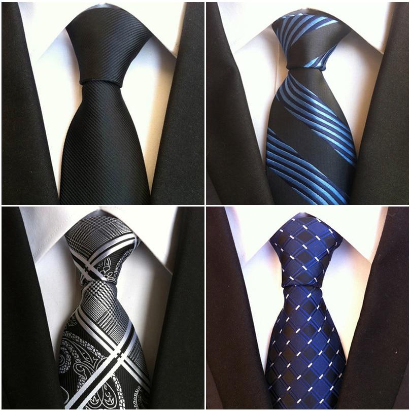 Mens Ties Black Necktie Clothing Accessories Suit Wedding Party Stripe Ties For Men Fashion Gifts Tie Silk Tie Handkerchiefs