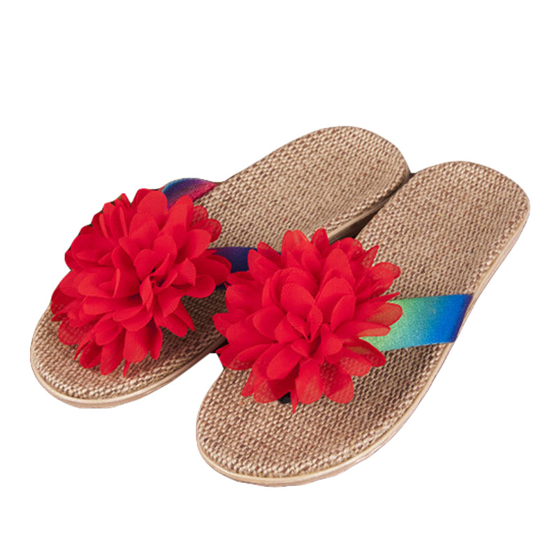 New Summer Women Linen Flip Flop Cloth Flowers Flax Sandals Vintage Slides Home Slippers Lady Casual Bohemia Ethnic Beach Shoes sandals 2016 new famous brand buckle womens flip flop sandals summer beach sandals af327