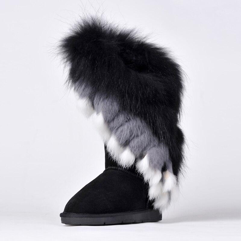 RUIYEE женские зимние сапоги модные зимние кожаные ботинки Большие размеры лисий мех кролика волосы шить ботинки 2018 г. новые женские ботинки