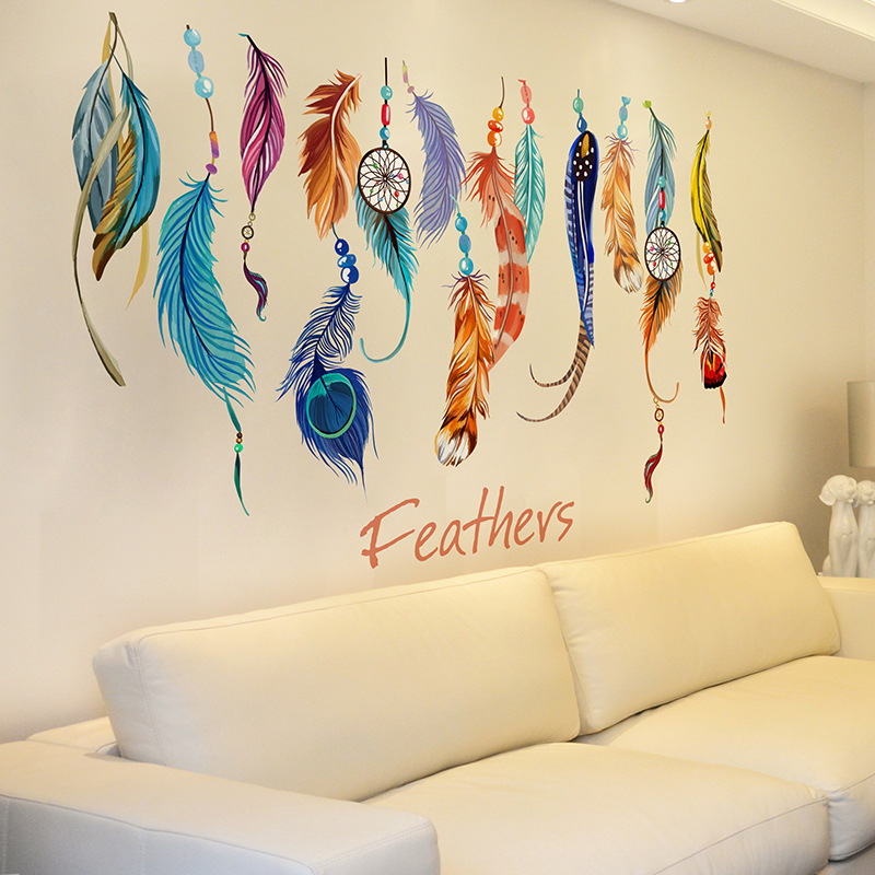 SHIJUEHEZI] Dreamcatcher Feathers Wall Sticker PVC Material Wall ...