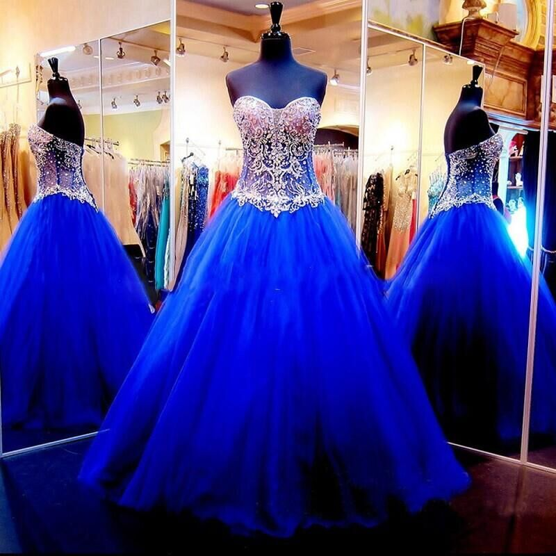 2016 New Arrival Royal Blue Sleeveless Beaded Quinceanera Dresses Pageant Ball Gown Tulle Sweetheart Quinceanera Dresses Gowns