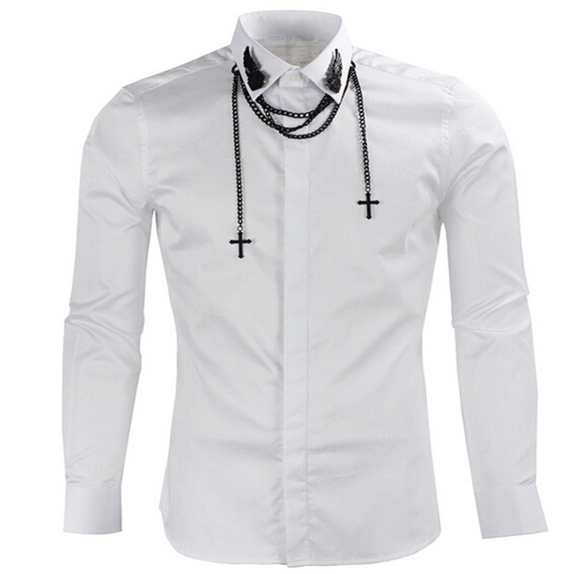 Unique Design Men's Fashion Metal Wings Chain Shirt Long Sleeve ...