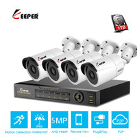 Keeper CCTV camera System 4CH 5MP AHD security Camera DVR Kit CCTV waterproof Outdoor home Video Surveillance System