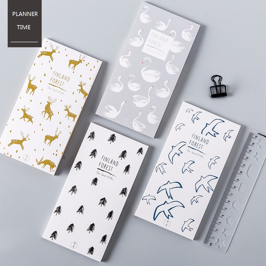 [Finland Forest] 30 Sheets/Pack Memo Pad Paper Post It Note For Message Record Decorative Scrapbooking Tools