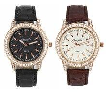 Couro das Senhoras Das mulheres Moda Quartzo Rosa Pedra De Cristal De Ouro Caso Relógio de Pulso Analógico De Luxo
