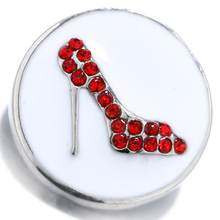 Jayna Lee 20mm Red High-heeled shoes Enamel Snap Charm Fit Ginger Snaps Interchangeable Jewelry for women men gifts GJS8196(China)