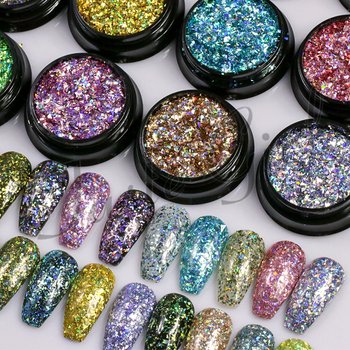 1 bottle Laser silver Broken Paillette Nail Glitter Summer Charms Designs DIY Irregular Sequins