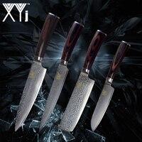 XYj Кухня Ножи 4 предмета в комплекте, из дамасской стали Сталь VG10 Core Цвет деревянной ручкой нож с отделкой по дамасски мясо фрукты овощи Пособ