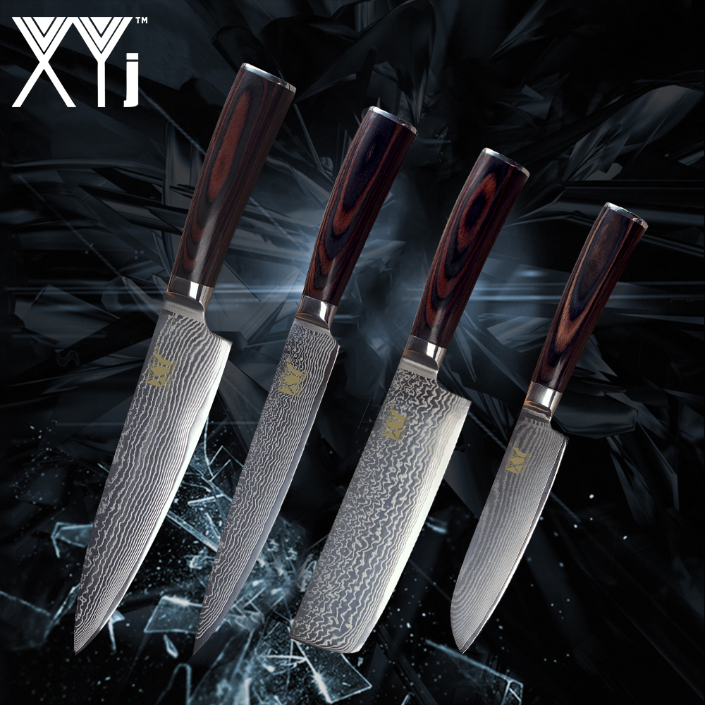 xyj kitchen knife 4 pcs set damascus steel vg10 core color