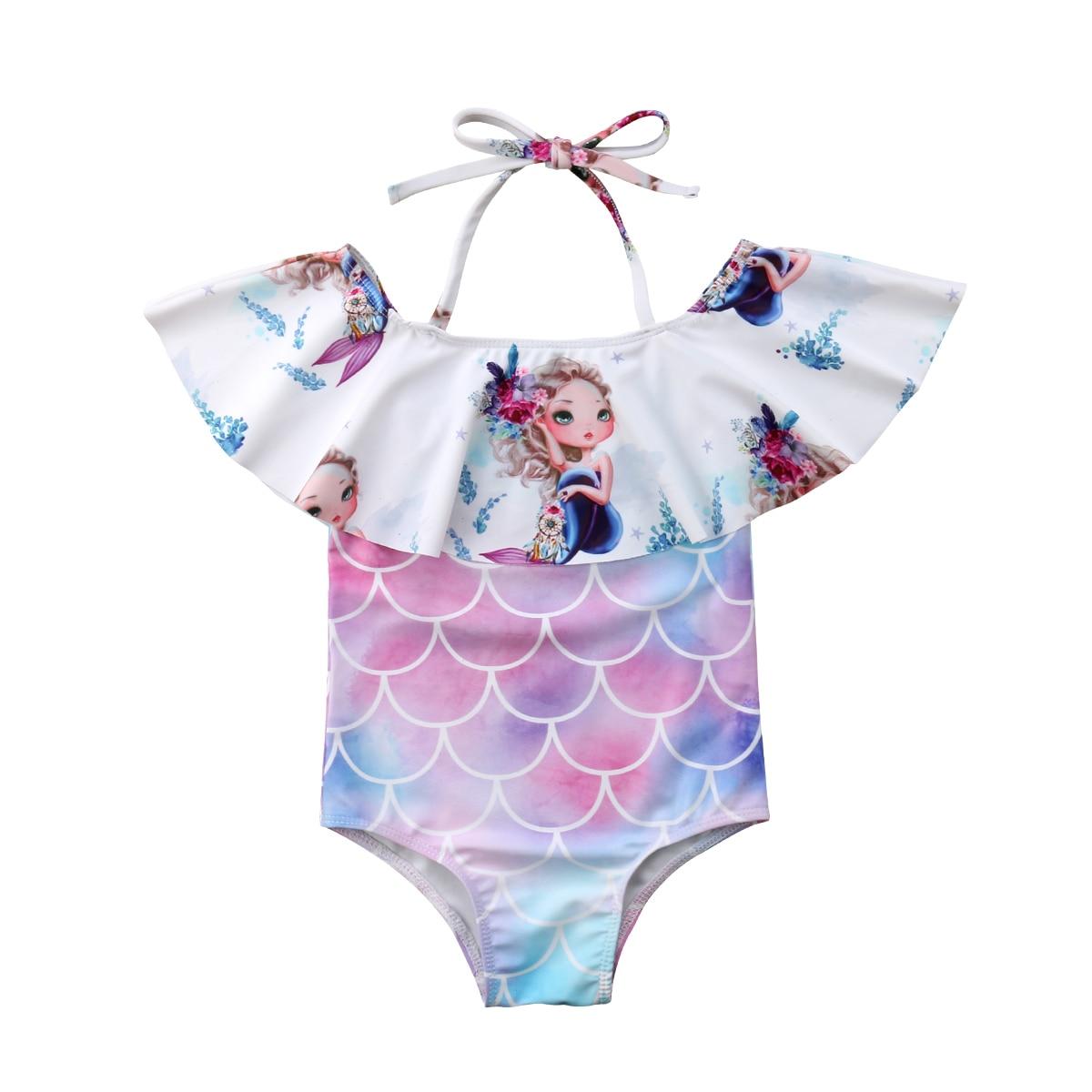 Toddler Kids Baby Girls Mermaid Tank Suit Bikini Set Bodysuit Swimwear Swimsuit Bathing Suit Beachwear Swimming Clothes 1-6 Age