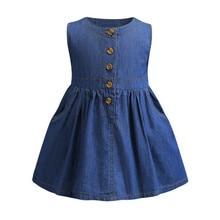 Funfeliz Spring Summer Kids Dresses A Line Sleeveless Jean baby Girl Dress 2019 New Cotton Blue Children Clothes