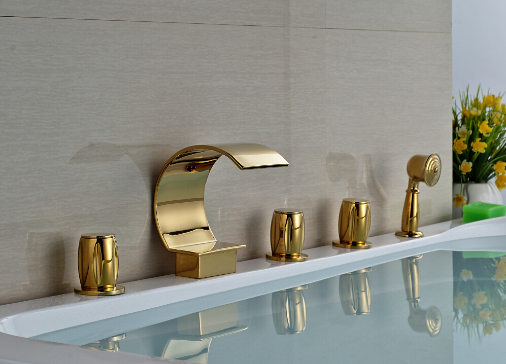Luxury Deck Mounted Waterfall Tub Faucet Hand Shower Sprayer Mixer Tap Golden Finish
