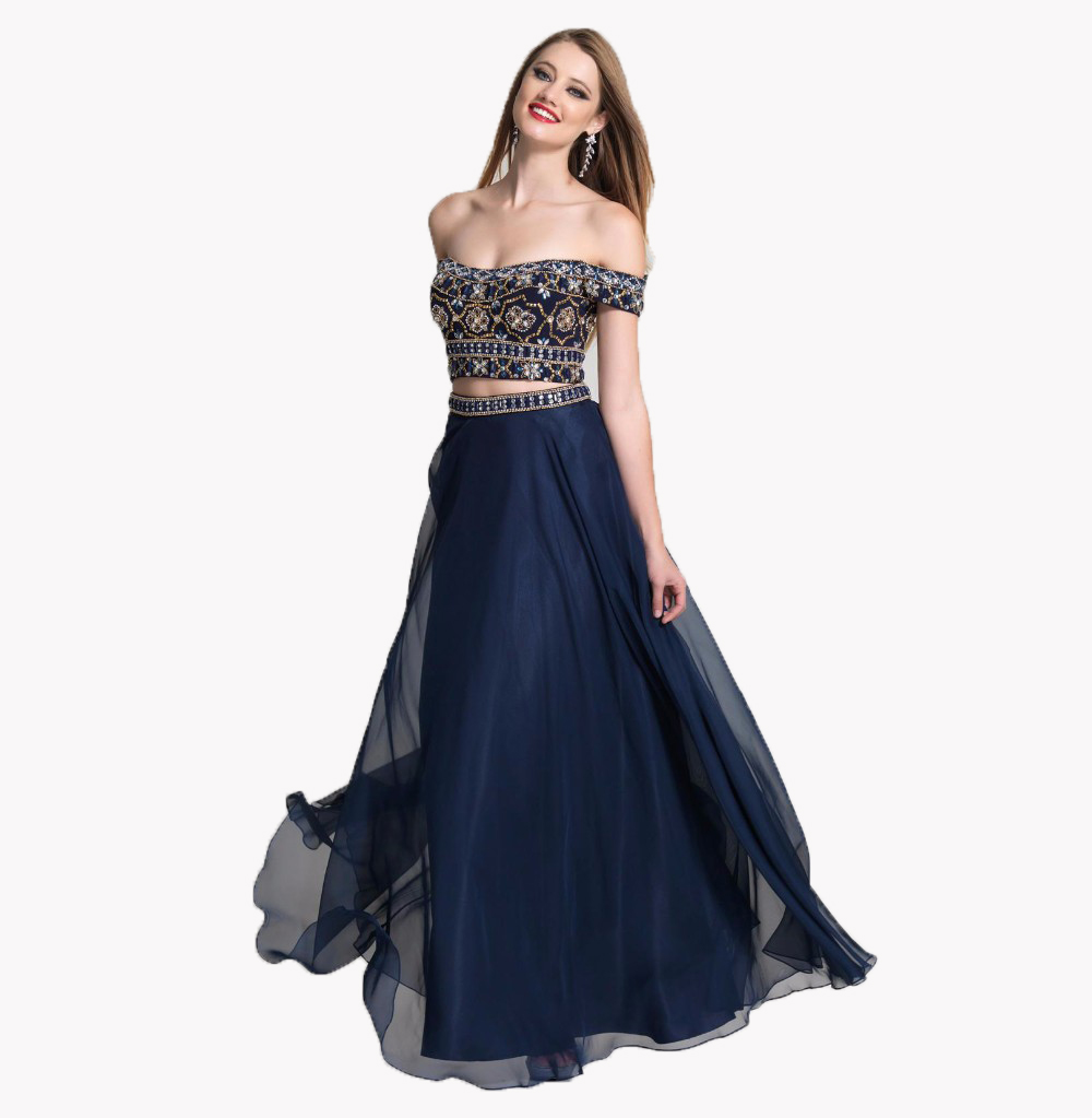 Two Piece Navy Blue Prom Dresses 2017 Cap Sleeve Beads