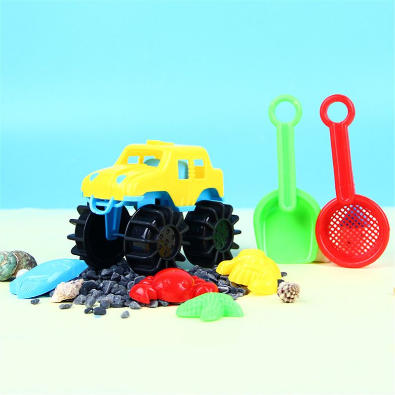 7pcs Beach Car Sand Toy Set Sand Mold Building Kids Summer Toys Outdoor Gaming