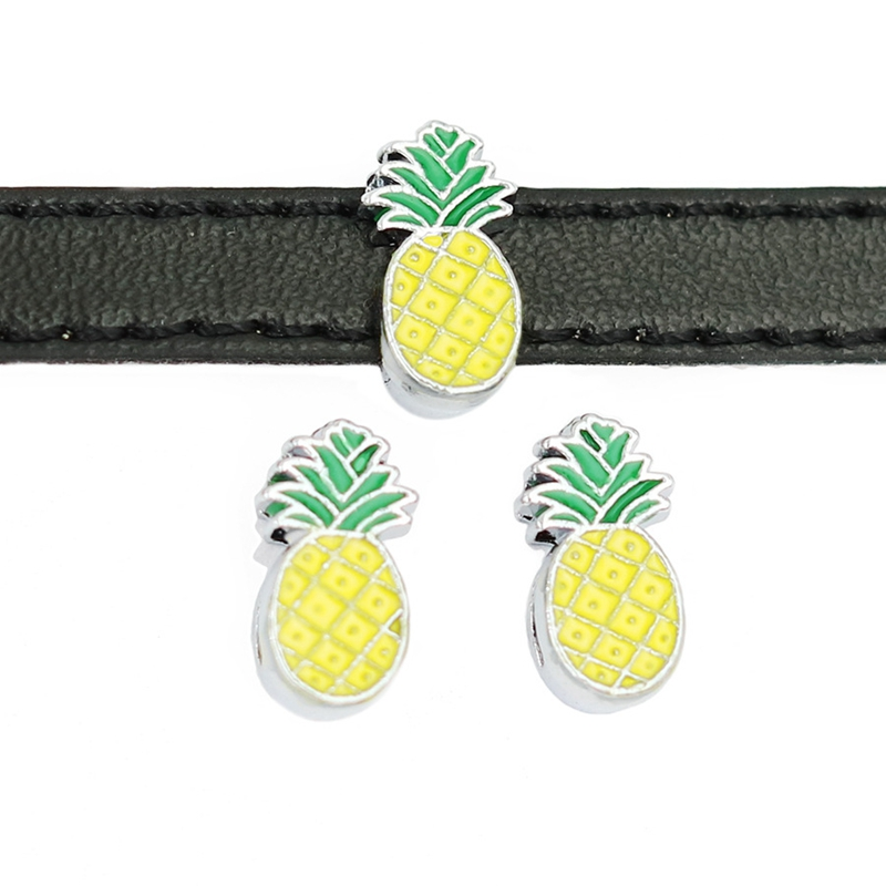 30PCS 8mm Alloy Cute Pineapple Slide Charms Slide Beads DIY 8mm Bracelets Wristbands,Belt Straps