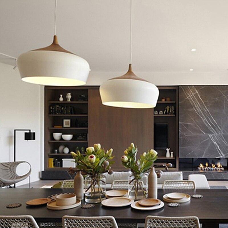 Lampe suspension moderne en bois E27 douille douille bois lampe suspendue blanc noir en option 300mm/350mm