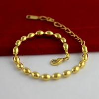 Oval Ball Beads Chain Yellow Gold Filled Womens Mens Bracelet Chain