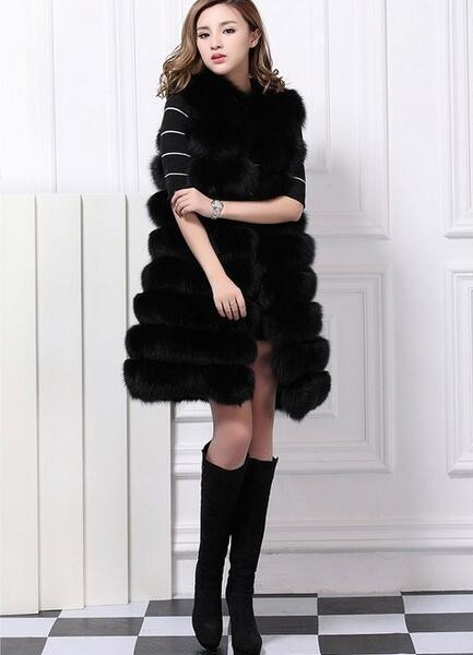 ardoisé noir Maxi Fausse Manteau Abrigos Fluffy Fourrure Furry Longue Mujer blanc Femme Capuche Femelle Femmes Gilet Avec D'hiver Rouge AgSCwxq