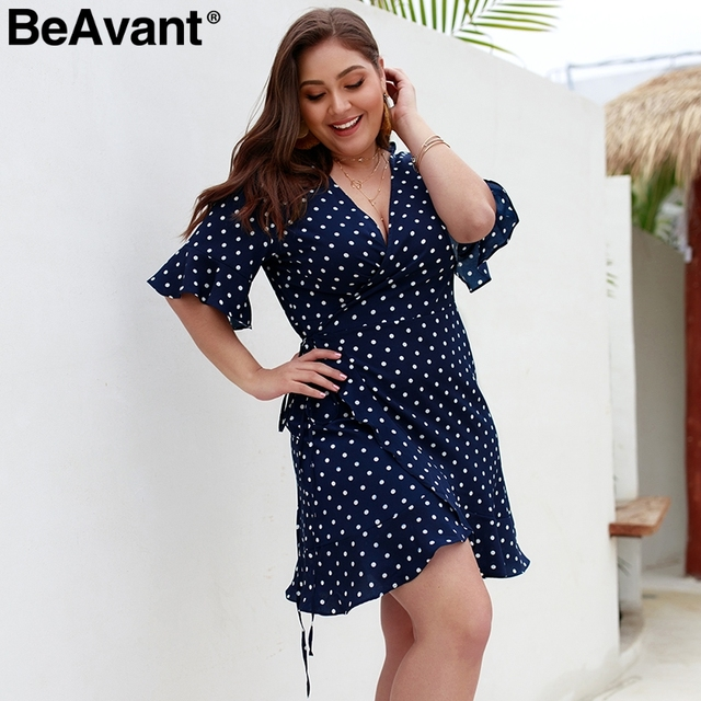 BeAvant Polka dot casual women dress plus size V neck sashes summer dresses 2019 Elegant flare sleeve mini short dress vestidos 3