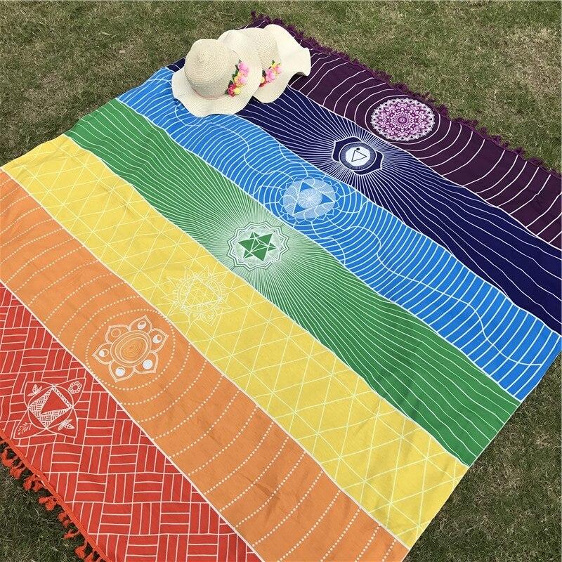 Polyester Böhmen Indien Mandala Decke Rainbow Stripes Mat