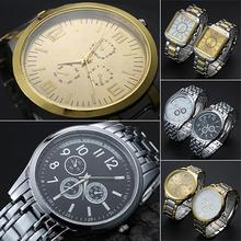 2016  Men Casual Business Golden Silver Color Stainless Steel Band Quartz Wrist Watch  181 G6TN Birthdays Gifts 8HWS