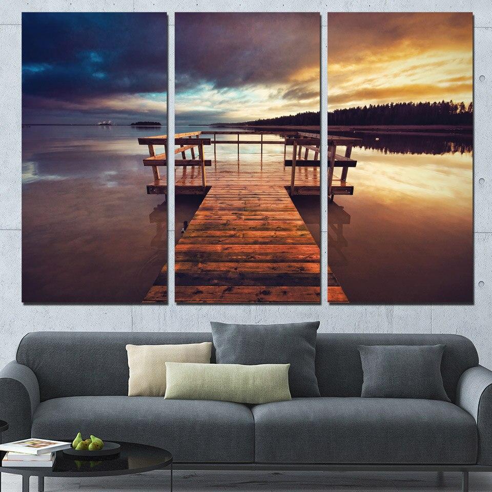 Современный декор холст изображения HD печатает Рамки Гостиная стены Книги по искусству плакат 3 предмета тихий вечер Coast Pier закат мост Краск...