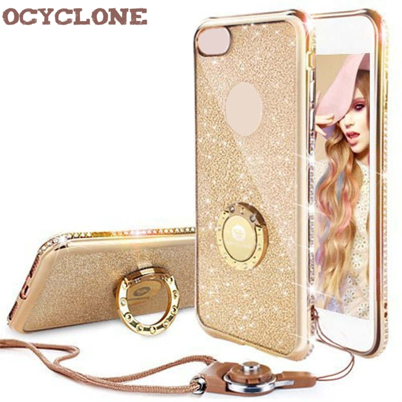 For IPhone 7 Case Ring Purple Bling Cover For Iphone X 6 6s 7 plus Diamond Case I8 Glitter Cover For Iphone 8 plus Case Ring Red