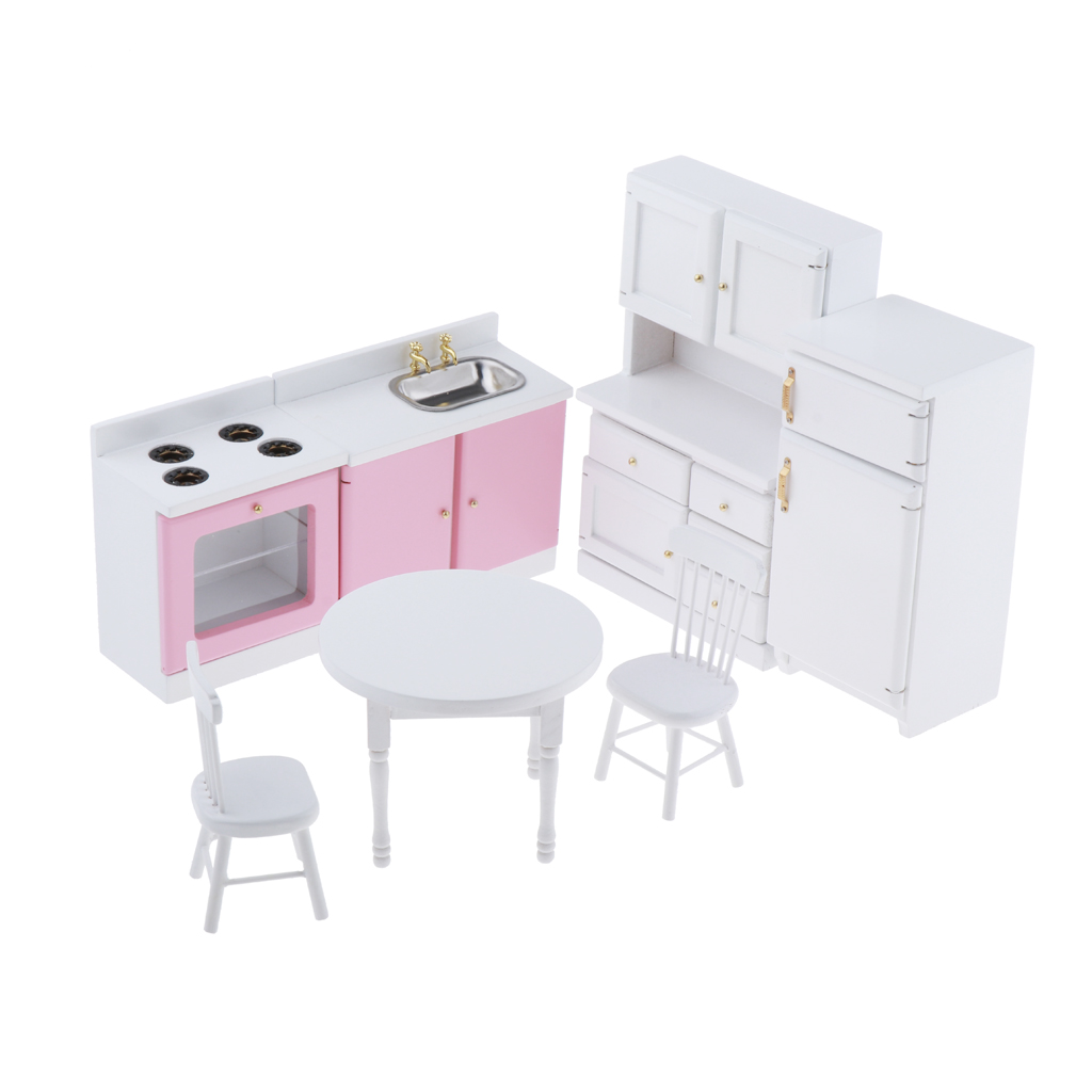 Dollhouse Furniture Kitchen Set - 1/12 Wooden Furnishings Decorating Kit - White