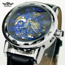 2016 colección mens barato GANADOR reloj mecánico de cuerda manual banda de cuero Marca de buen reloj barato de compras en línea