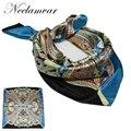 Nova Alta Qualidade de Cetim Praça Hijab Lenços de Impressão Moda Primavera Verão elegante Mini decoração lenço DE SEDA 60*60 CM