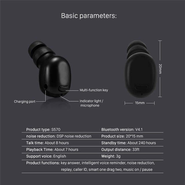 0f4b2043919 Mini Bluetooth Earbud Smallest Wireless Invisible Headphone Hands-Free to Enjoy  Music , Running,