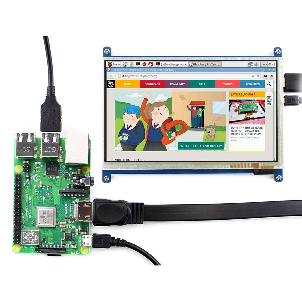 Image 3 - Waveshare7inch HDMI LCD (B) ,800*480, 7'' Capacitive Touch Screen,HDMI interface, for Raspberry Pi,Support Windows10/8.1/8/7-in LCD Monitors from Computer & Office