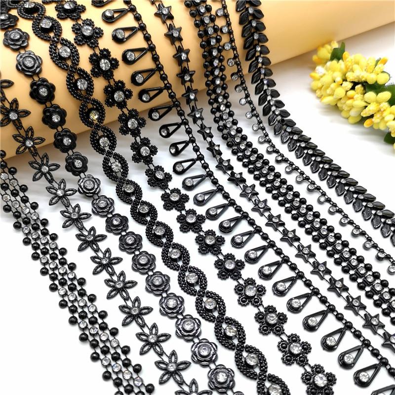 1 Yard Rhinestone Chain Black Crystal Chain Sew On Trims Wedding Dress Costume Applique