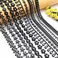 1 ярд стразы, цепочка с черными кристаллами, пришивная, украшение для свадебного платья