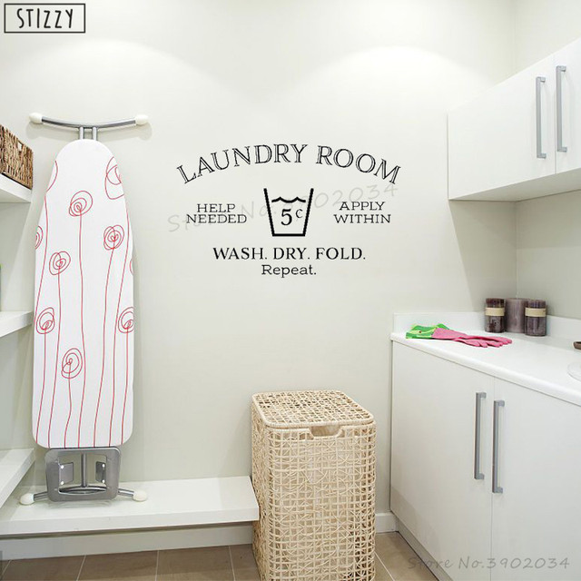 Stizzy Wall Decal Creative Laundry Room Decoration Vinyl Window Art Decor Wash Dry Fold Quote Help Needed Interior Diyb261