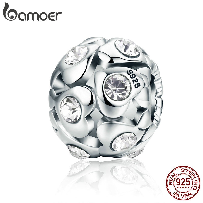 BAMOER Authentic 925 Sterling Silver Heart Luminous AAA Cubic Zircon Beads fit Charm Bracelet Necklace Valentine Day Gift SCC527 valentine s day wine glass heart pattern waterproof table cloth