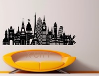 Europe Cities Sights Landmark Retro Decal Wall Vinyl Sticker Home Interior Removable Bedroom Decor 57 x 127cm