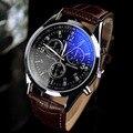 De luxo de Alta Qualidade de Couro Genuíno Marrom Preto Quartz Negócios Vestido Relógio de Pulso Relógios De Pulso para Homens Macho de Marcação de Aço Inoxidável