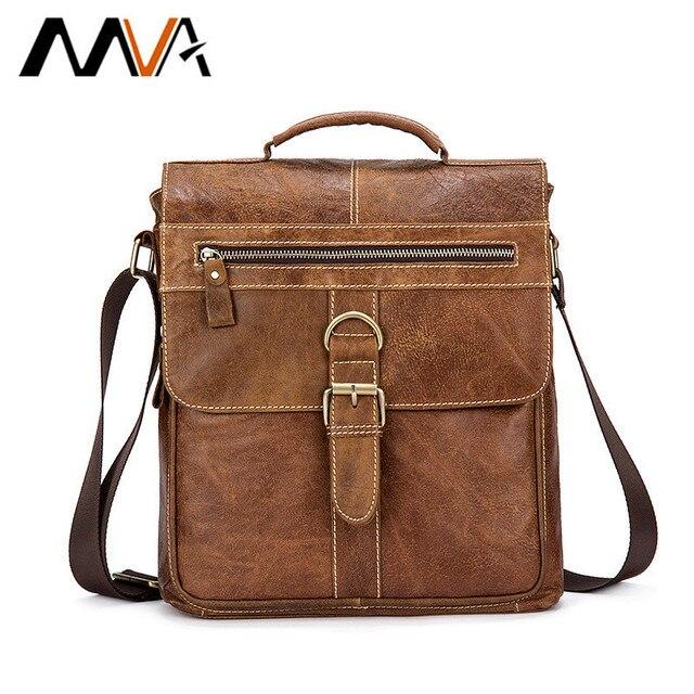 MVA Messenger Bag Men Leather Shoulder Bag Male Genuine Leather Crossbody  Bags for Men Casual top-handle Bags Hasp ipad Flap