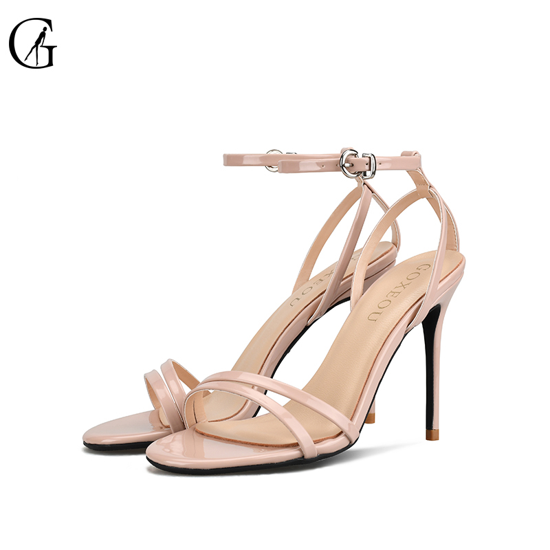 GOXEOU 2018 New Women Sandals Thin Heel High Heels Sexy Lace-up Bling Party Office 4 color Handmade Free Shipping size32-46