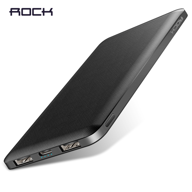 Rock Slim Energy Financial institution 10000 Mah Moveable Charging Extremely Skinny Powerbank Exterior Battery Backup Pack For Iphone Poverbank 10000Mah