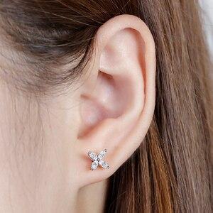 Image 5 - DovEggs 14K White Gold Marquise Cut 2*4mm F Color Moissanite Diamond Stud Earrings For Women Flower Shape Screw Back Earring