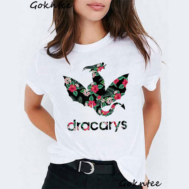 Dracarys   t     shirt   for Women Game of Thrones print vogue tshirt Funny   t  -  shirt   Tops femme Mother of Dragon harajuku summer tee