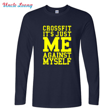 Autumn New Fashion Workout Fitness Gear Wear T-shirt CrossFit Me Against Myself Eco Long Sleeve T Shirt men's clothing