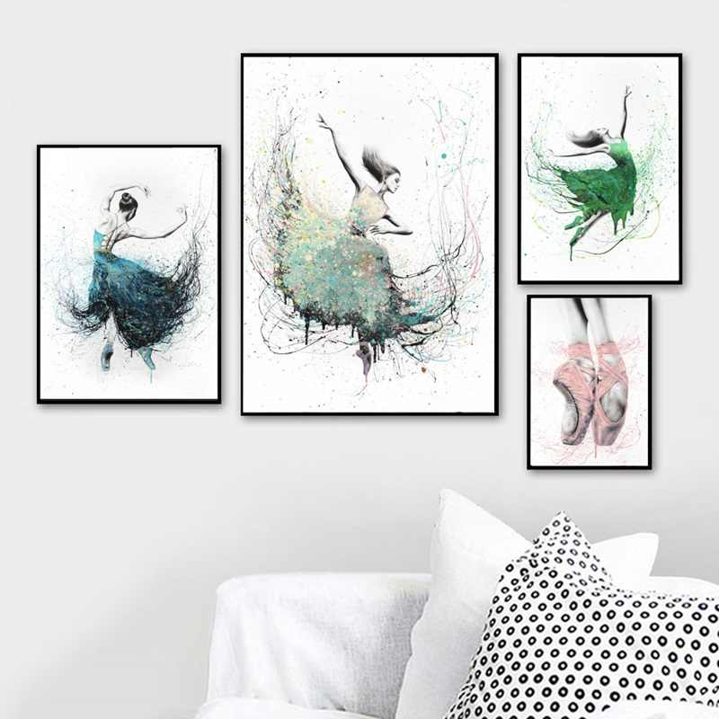 Ballet Poster Watercolor Abstract Ballerina Dance Print Canvas Painting Nordic Posters And Prints Wall Art Decor Home Unframed