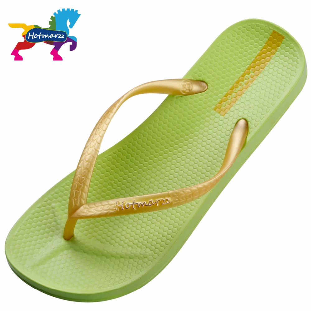 Hotmarzz Flip Flops Women Beach Grass Green Summer Fashion New Brand Solid Color Sandals Casual Flats Lady Slippers Shoes aakt brand fashion casual women shoes string bead women summer sandals shoes flats lady cute flip flops women slippers