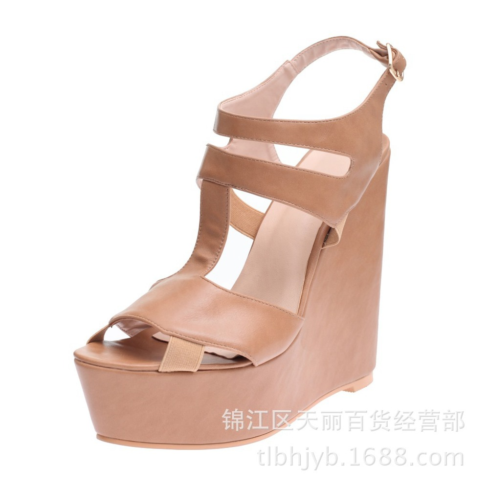 Europe America Style Wedges High Heel Chunky Heel  Ankle Wrap Summer Woman Fashion Sandals Shoes Plus Size 34-46 SXQ0529 gladiator women new arrival summer wedges chunky heel ankle wrap fashion casual sandals shoes plus size 34 43 sxq0610