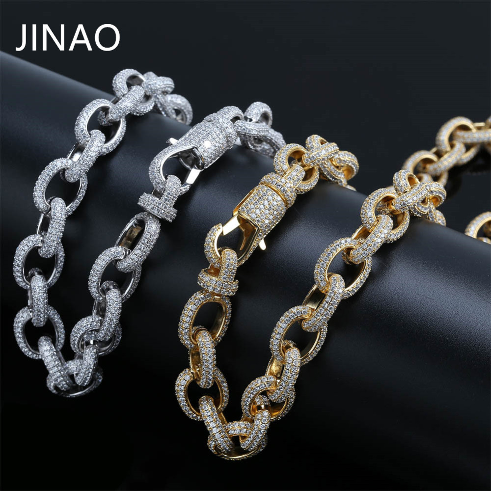 JINAO Hip Hop Micro Pave Zircon Chain 15mm Gold Silver Twisted and Oval Link Chain Necklaces